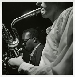 "Hank Mobley and Pepper Adams at Mobley's October 20, 1957 session for ""Poppin"" (Blue Note) at the Van Gelder Studio, New Jersey [black-and-white photoprint]"