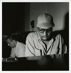 "Alfred Lion and Thelonious Monk at Monk's May 30, 1952 session for ""Genius of Modern Music"" (Blue Note) at WOR Studios, New York City [black-and-white photoprint]"