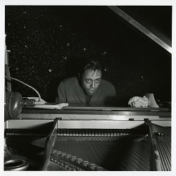 "Horace Silver at the November 23, 1955 session for ""The Jazz Messengers at Cafe Bohemia (Blue Note) [black-and-white photoprint]"