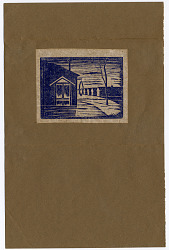 Card, block print of line of barracks