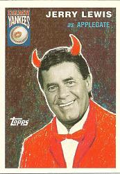 card, baseball ,depicting Jerry Lewis as Applegate in Damn Yankees