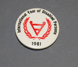 button, International Year of Disabled Persons