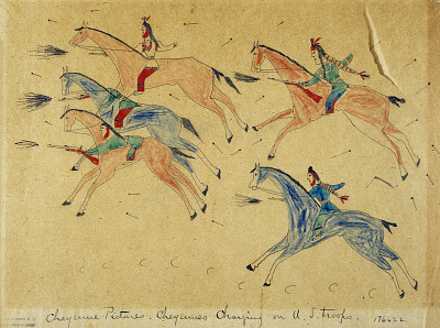 Cheyenne Pictures. Cheyennes Charging on U.S. Troops