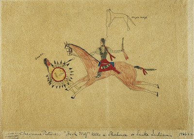 Cheyenne Pictures. 'High Wolf' kills a Shoshone or Snake Indian.