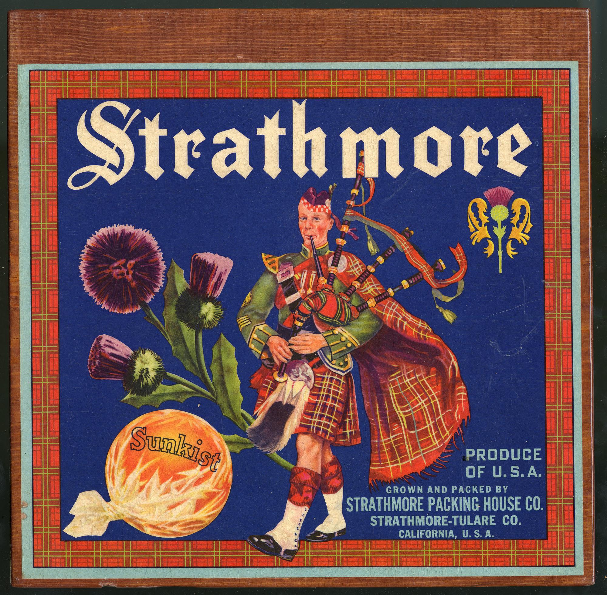Strathmore Oranges Crate Label, 1910s