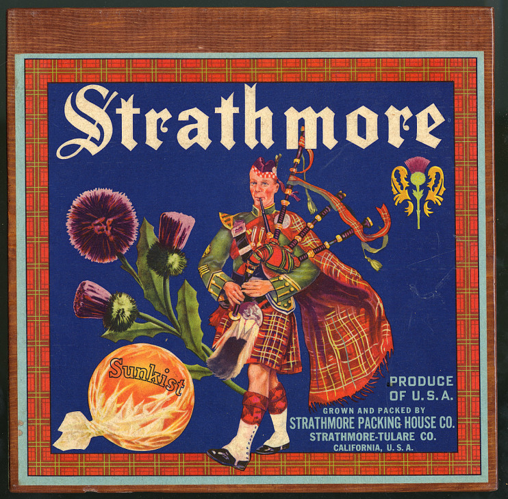 Strathmore Oranges Crate Label, 1910s