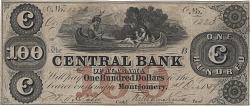 100 Dollars, Central Bank of Alabama, Montgomery, Alabama, 1859