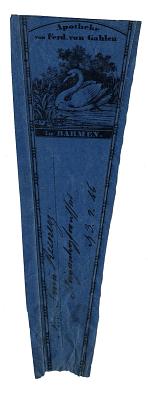 Prescription Label, Apotheke von Ferd von Gahlenin Barmen