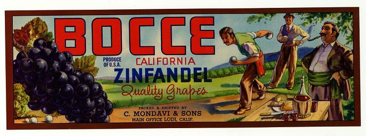 Grape Crate Label, Bocce