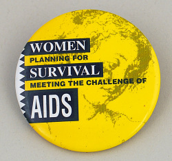 "button, ""Women Planning for Survival..."""