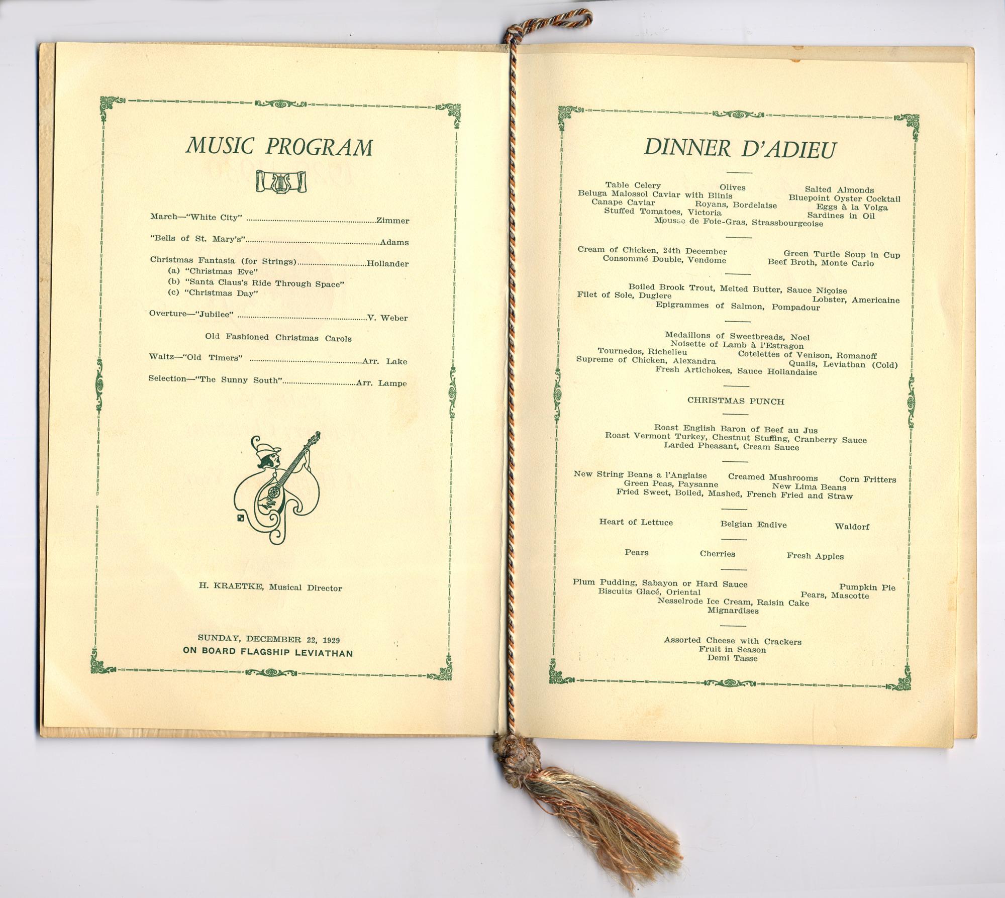 Dinner Menu, S.S. <i>Leviathan</i>