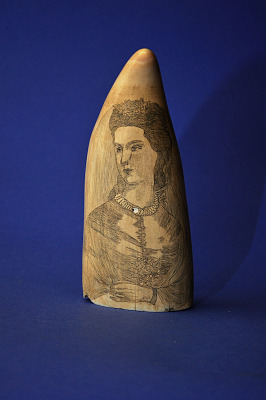 Scrimshaw Sperm Whale's Tooth, Mid-19th Century