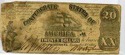 20 Dollars, Confederate States of America, 1861