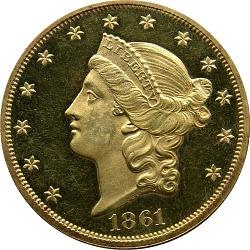 20 Dollars, Proof, United States, 1861