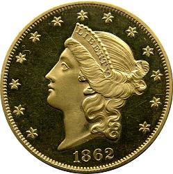 20 Dollars, Proof, United States, 1862