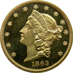 20 Dollars, Proof, United States, 1863