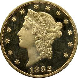 20 Dollars, Proof, United States, 1882