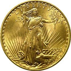 United States, 20 Dollars, 1908