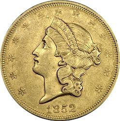 20 Dollars, United States, 1852
