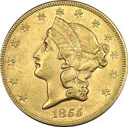 20 Dollars, United States, 1855