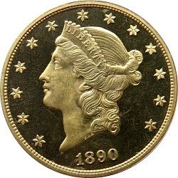 20 Dollars, Proof, United States, 1890