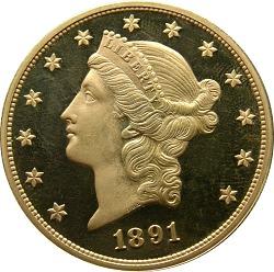 20 Dollars, Proof, United States, 1891