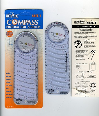 Safe-T mmArc Combination Compass, Protractor, and Rule, Group of Two