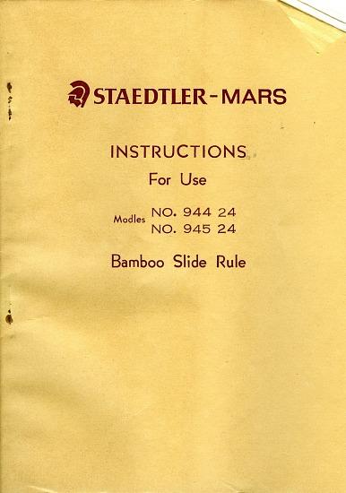 Instructions For Staedtler Mars Model 944 24 Slide Rule