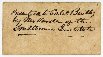 James Smithson Carte de Visite, London, England, ca. 1826