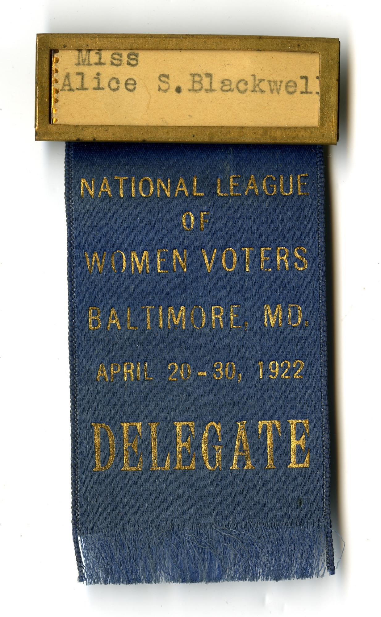 images for National League of Women Voters Delegate Badge, 1922