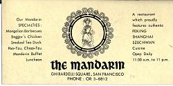 Mandarin Restaurant Business Card