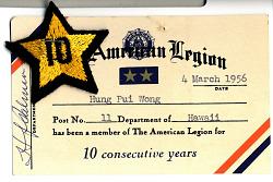 Hung Pui Wong's American Legion Card