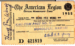 Hung Pui Wong's American Legion Official Membership Card