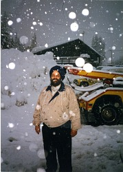 Balbir Singh Sodhi standing in the snow