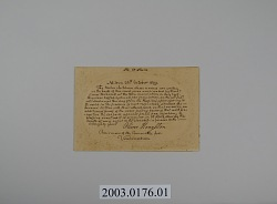 Card Commemorating a Test of the Effectiveness of Vaccination onTwelve Children in Milton, Massachusetts