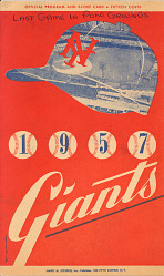 Baseball program for New York Giants, 1957