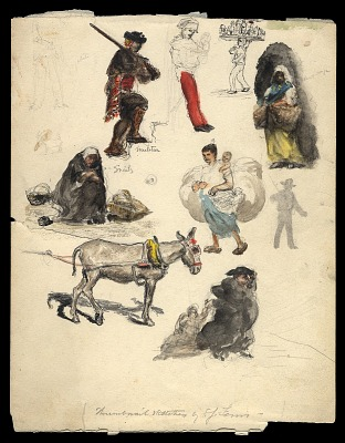 Thumbnail Sketches of Market People, Southern Spain