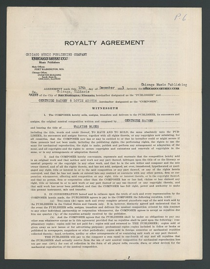 Royalty Agreement For Walking Blues By Ma Rainey Smithsonian