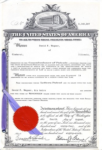 Patent Certificate: D. P. Wagner, Medication Dispensing Device