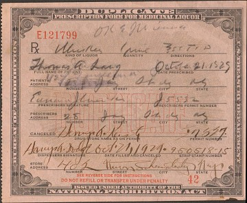 National Prohibition Act Prescription Form For Medicinal Liquor