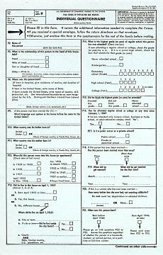 Census Bureau Questionnaire, 1960