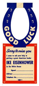 Eisenhower Campaign Door Hanger, 1952