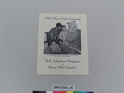 Holt Adoption Program Newsletter, 1967 New Years Greeting