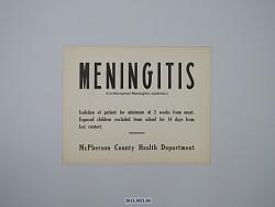 Meningitis (Cerebrospinal Meningitis--epidemic) Quarantine Sign - McPherson County Health Department