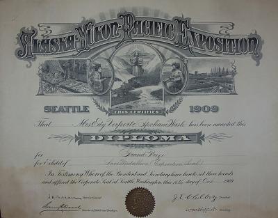 Alaska-Yukon-Pacific Exposition Needle Lace Certificate
