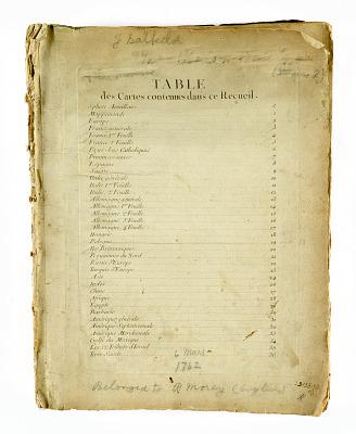 Atlas Moderne Ou Collection De Cartes ..[Table of Contents]