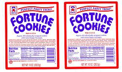 Umeya fortune cookie packaging label
