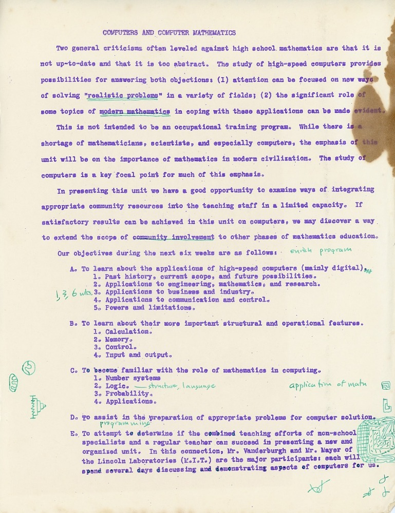 Resources :: Set of Documents Relating to a 1958 High School Course