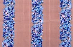 """Marine & Camouflage"" design printed dress silk, Mallinson's La Victoire series I"