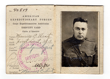 Identity Card, American Expeditionary Forces, for Maurice Cornelius Wentz